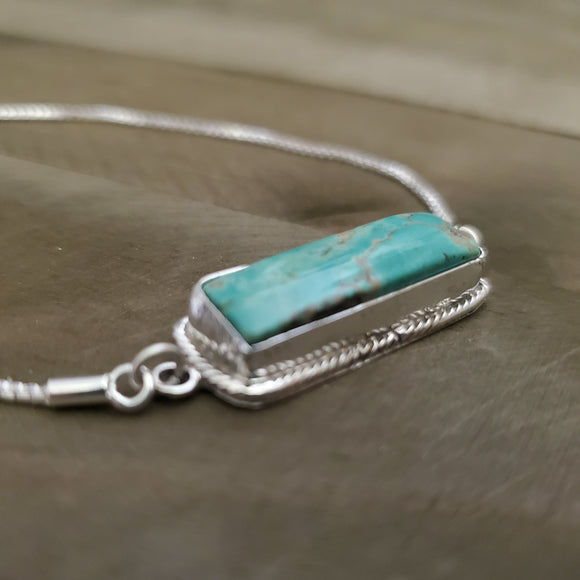 Sterling Silver and Turquoise Bar Bolo Bracelet