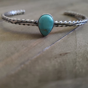 Sterling Silver Stamped Turquoise Cuff Stacker Bracelet
