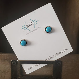 Leander Cachini Sterling Silver and Turquoise Stud Earrings