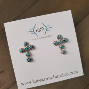 Michael Gchache Sterling Silver and Turquoise Cross Earrings
