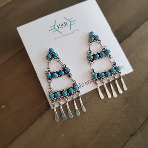 Peina Sterling Silver and Turquoise Chandelier Earrings