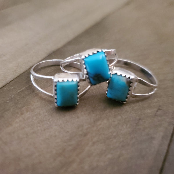 Sterling Silver and Turquoise Square Cut Stone Ring