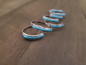 Sterling Silver and Turquoise Inlay Band