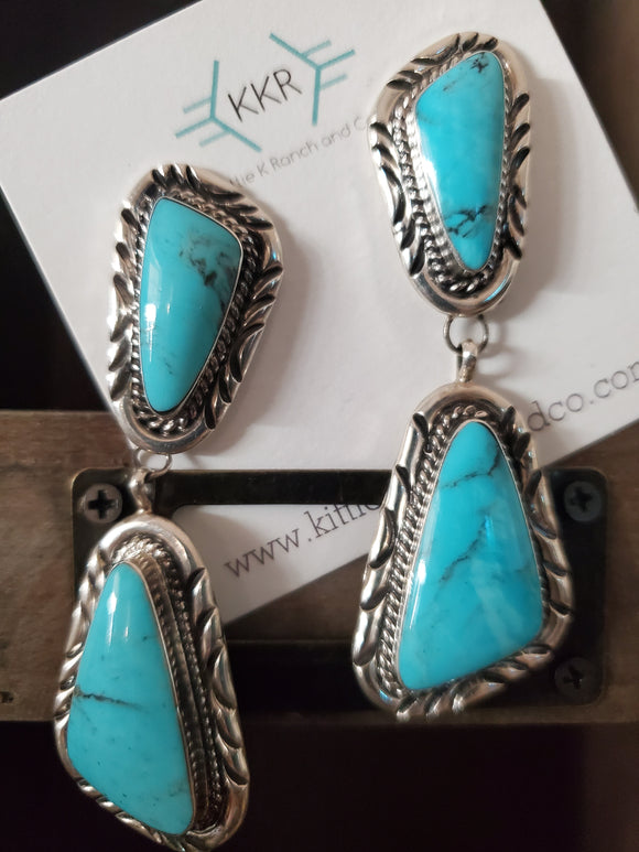 Running Bear Sterling Silver and Turquoise Navajo Earrings