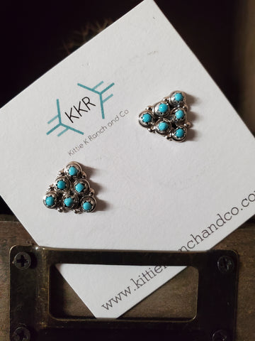 Loretta Nastacio Sterling Silver and Turquoise Zuni Earring Studs