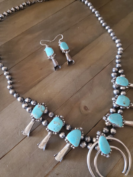 Tatum Skeets Handmade Sterling Silver and Kingman Turquoise Squash Blossom and Earring Set