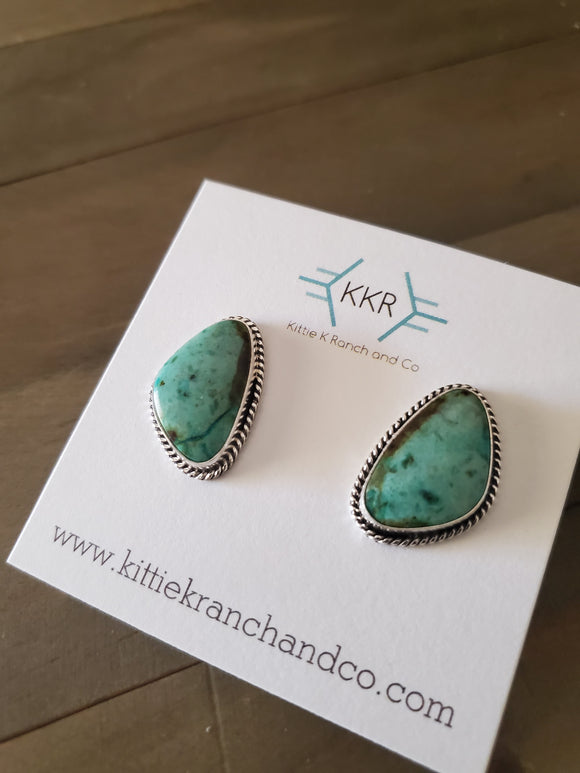Genevieve Francisco Sterling Silver and Turquoise Earrings
