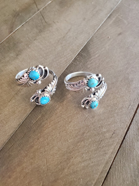 Etta Belin Sterling Silver and Turquoise Adjustable Ring