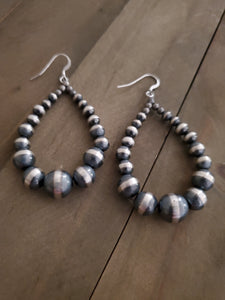 Sterling Silver Hoop Navajo Pearl Earrings