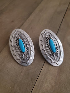 Vintage JJ Southwest Pewter and Turquoise Earrings