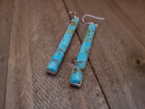 Ella Cowboy Sterling Silver Bar Turquoise Earrings