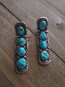 Vintage Sterling Silver and Turquoise Hinged Earrings