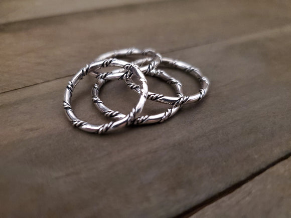 Verna Tahe Sterling Silver Twisted Wire Eternity Band