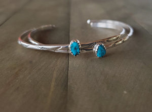 Navajo Sterling Silver and Sleeping Beauty Turquoise Bracelet Cuff