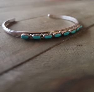 Belvera Sterling Silver and Turquoise Cuff Bracelet