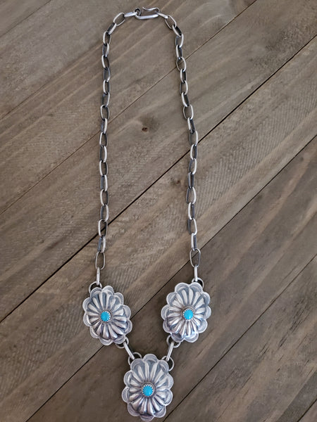 Ryan Begay Sterling Silver and Turquoise Concho Necklace