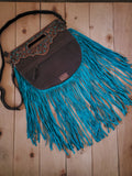 American Darling Tooled Leather and Hair on Hide Handbag