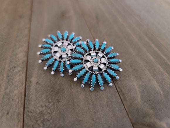 Rosemary Tom Nez Sterling Silver and Needlepoint Turquoise Cluster Studs