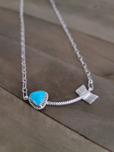 Sterling Silver Turquoise Arrow Necklace