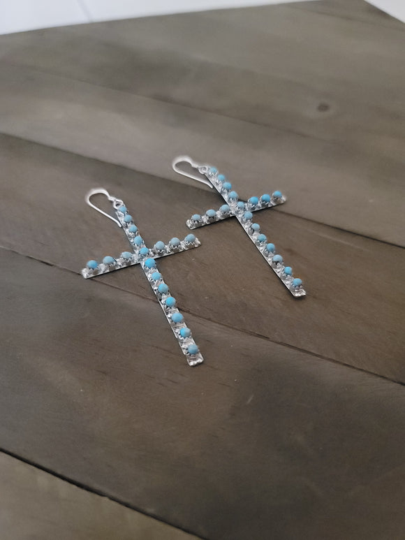 Lorinda Edaakie Silver and Turquoise Cross Earrings