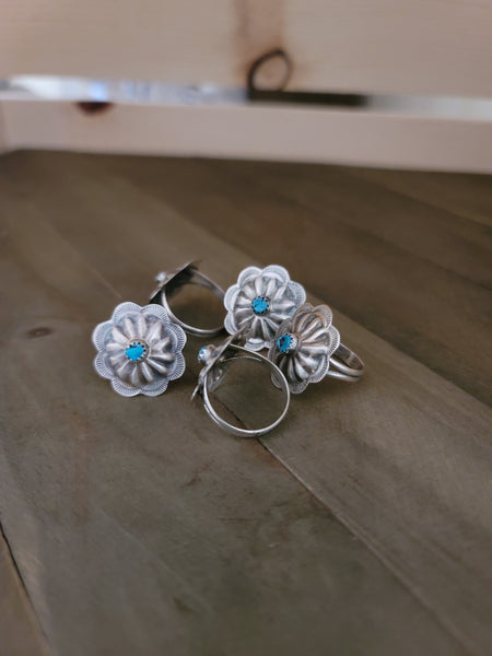Sterling Silver and Turquoise Concho Ring