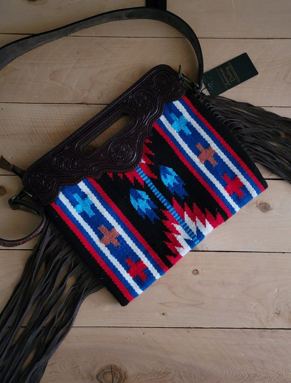 American Darling Wool Saddle Blanket and Tooled Leather Handbag