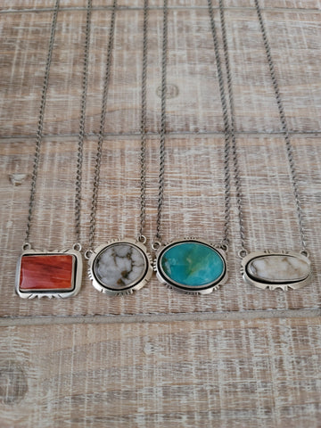 Phyllis A Smith Sterling Silver and Turquoise Bar Necklace