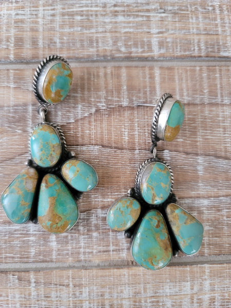 ELOUISE KEE TURQUOISE CLUSTER EARRINGS