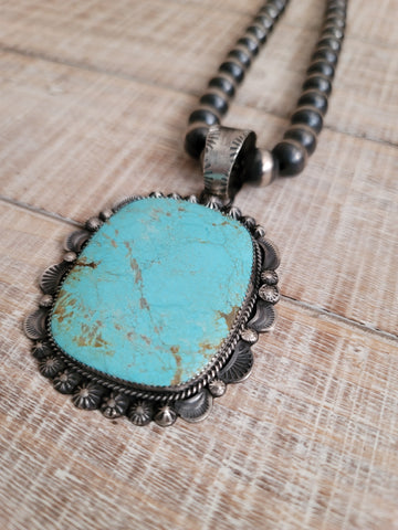 GILBERT TOM NUMBER 8 TURQUOISE PENDANT