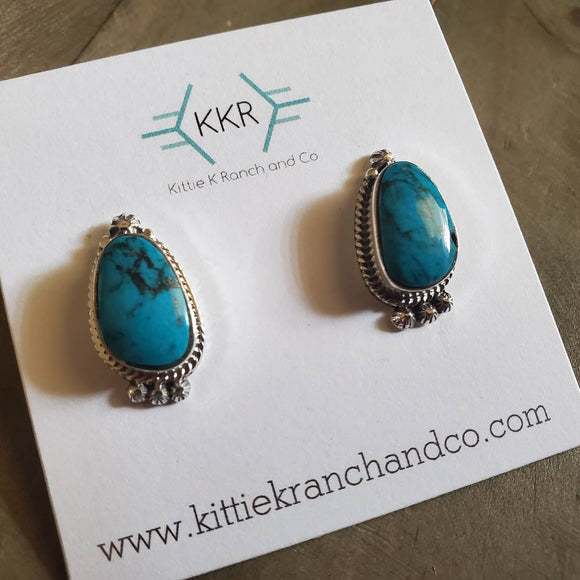 Louise Joe Sterling Silver and Turquoise Large Earring Studs