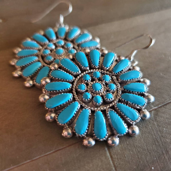 Zuni Turquoise Cluster Earrings