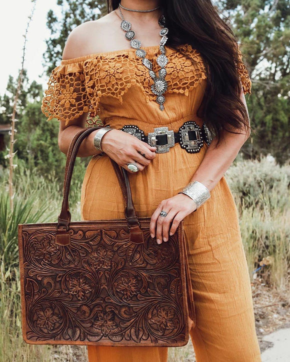 American Darling Leather Tooled Business Bag
