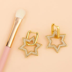 Star Hoop Huggies Earrings - OSVEEZIE