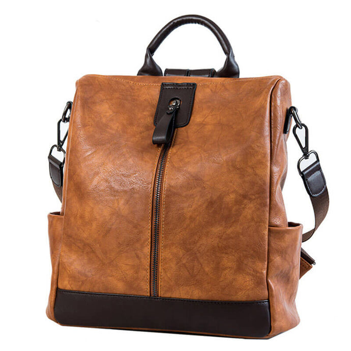Anti Theft Leather Outdoor Backpack for Women Black Grey Green Brown | OSVEEZIE - OSVEEZIE