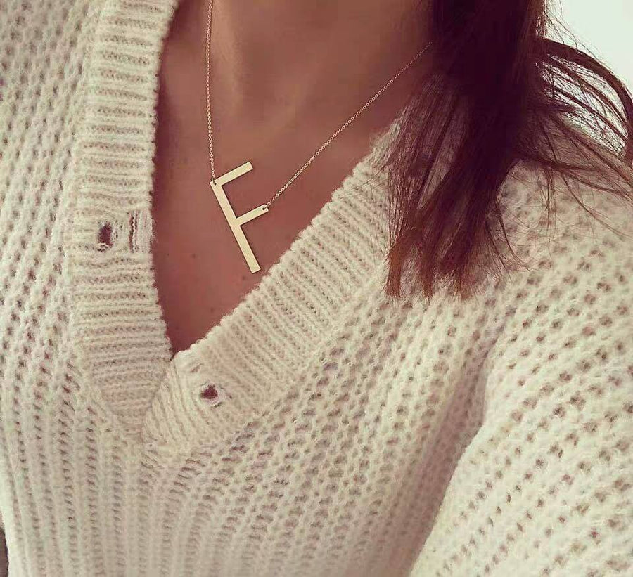 Large Initial Necklace | OSVEEZIE - OSVEEZIE
