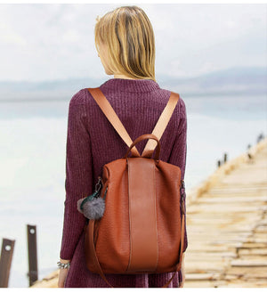 Theft Proof Women Leather Backpack Black Brown | OSVEEZIE - OSVEEZIE