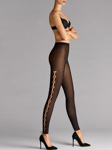 Wolford Lace Up Leggings (Gobi/Black)