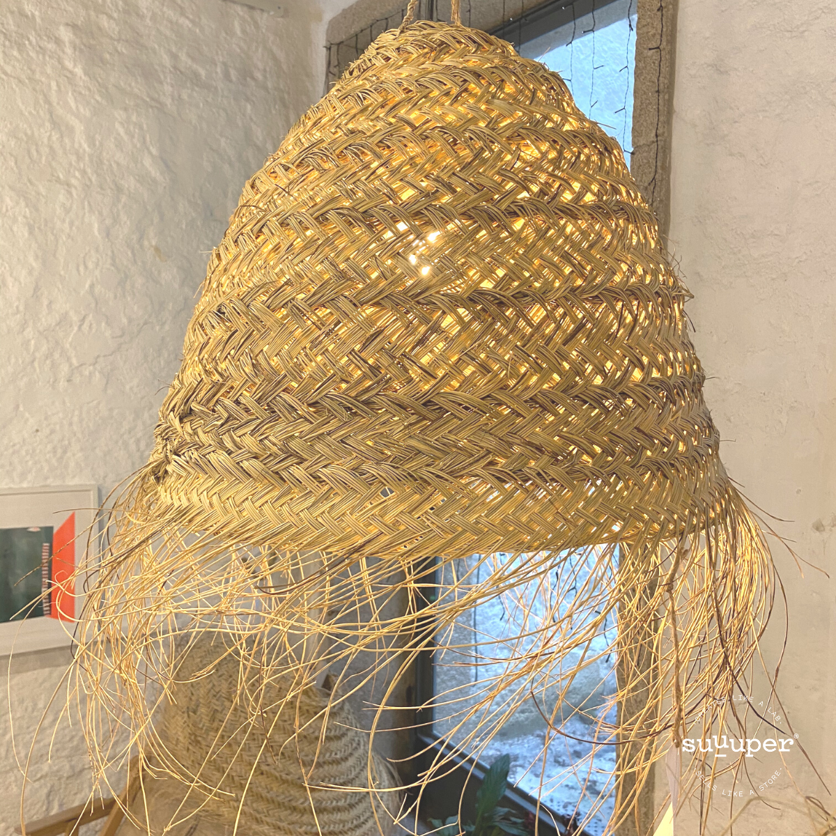 HANDMADE NATURAL RATTAN BALL LAMPSHADE