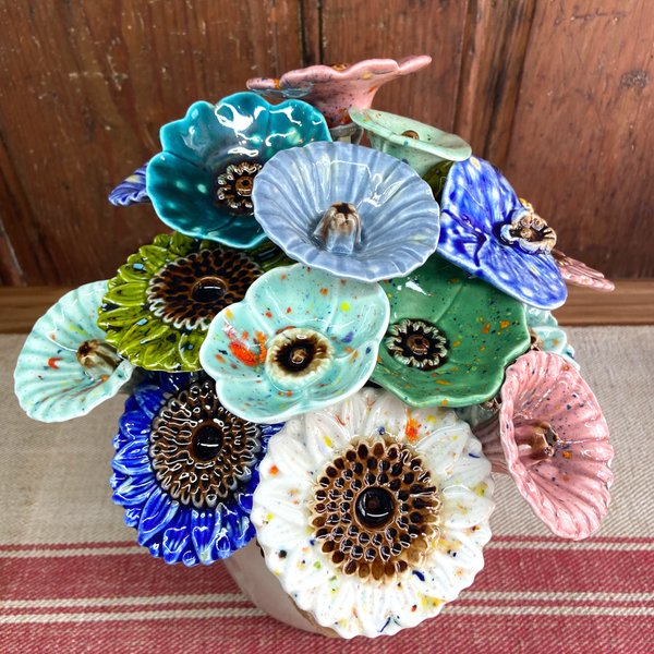 Bunch of handmade glaze flowers