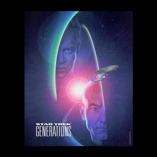Star Trek : Generations Kirk & Picard LogoFleece Hooded Sweatshirt