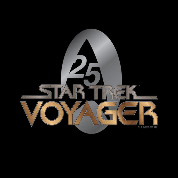Star Trek: Voyager Gold 25 Logo Adult Short Sleeve T-Shirt
