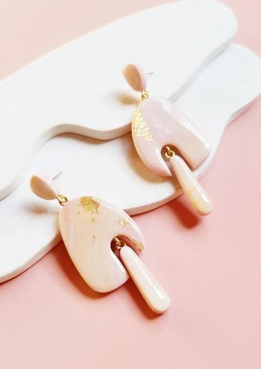 Sappho Earring in Pink by Runi Clay.