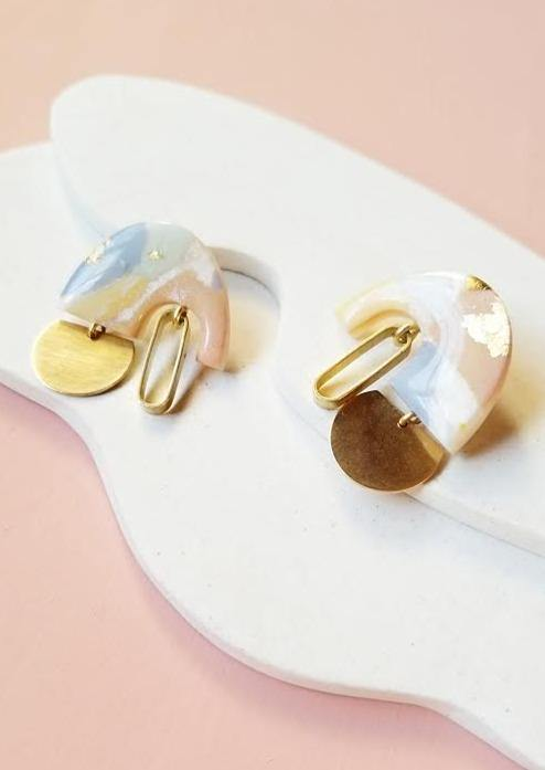 Astraea Earrings in Pastel Mix by Runi Clay.