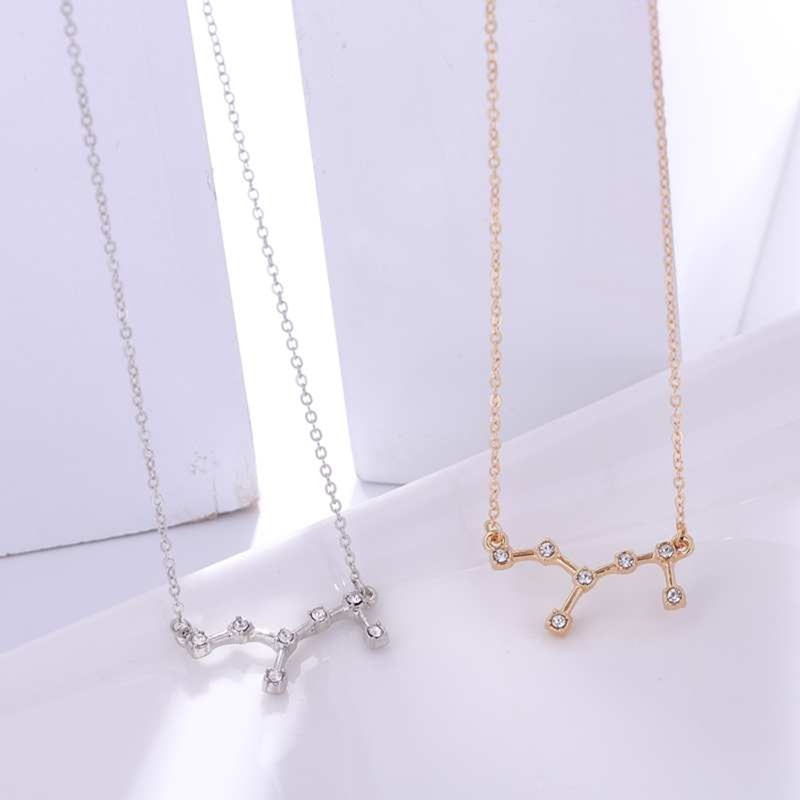Zodiac sign crystal constellation necklace - gold