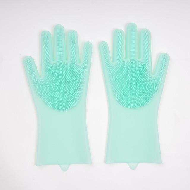 Scrubbing and washing rubber gloves Kitchen ThinkThingz