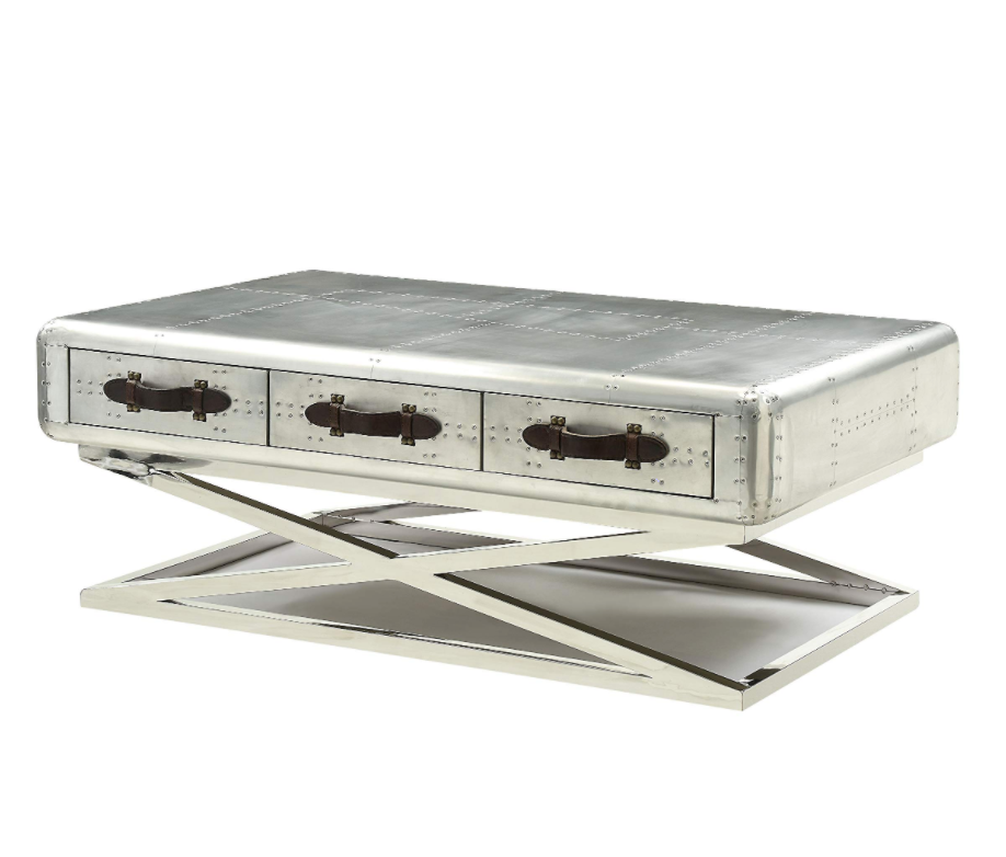 "Aluminum Coffee Table With Storage Trunk Style With 3 Drawers 51""X33""X19"""