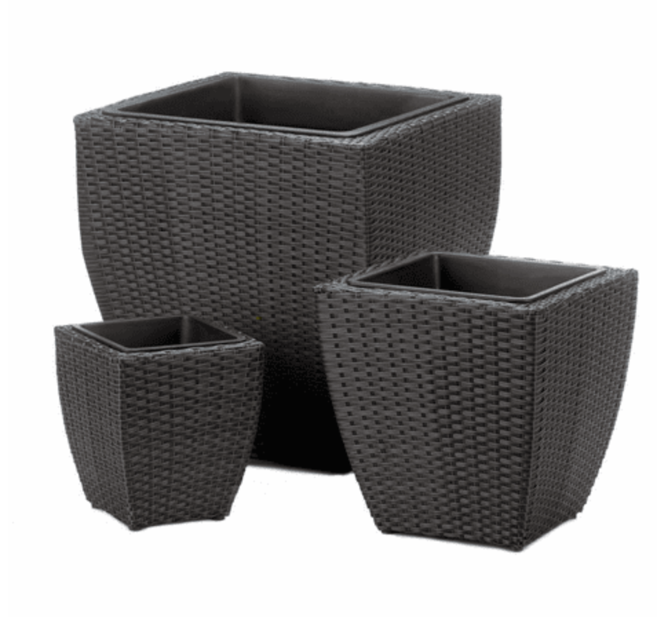 Black Tuscany Wicker Square Planters And Woven Plant Basket Set