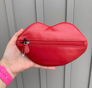 Leather Lip Shaped Cosmetic Pouch