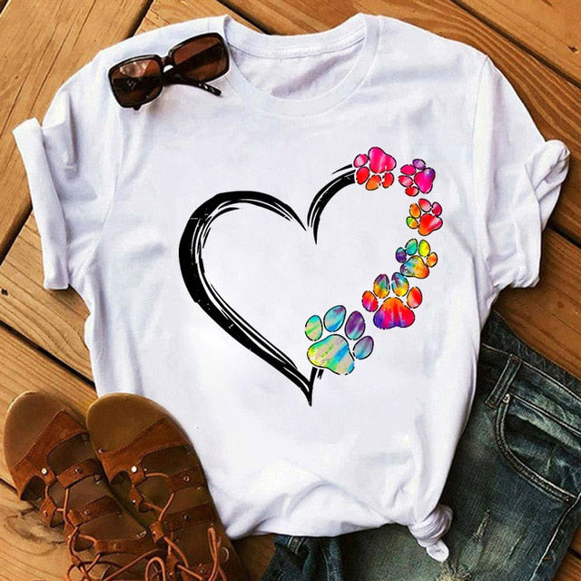 Watercolor Heart Doggy Paw T-Shirt and more