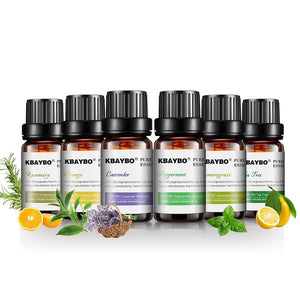 6 bottles of 10ml Pure essential oils for aroma diffusers